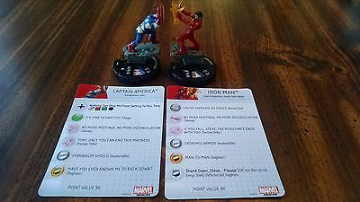 Marvel Heroclix CAPTAIN AMERICA 101 and IRON MAN 102 LE's from Civil War OP Kit
