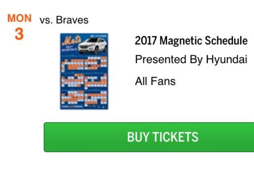 2017 NY Mets SGA Magnet Schedule 4/3 Opening Day