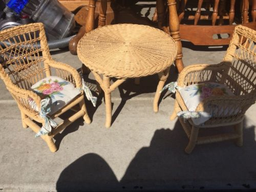 Pleasant Company Wicker Table And Chairs With Cushions