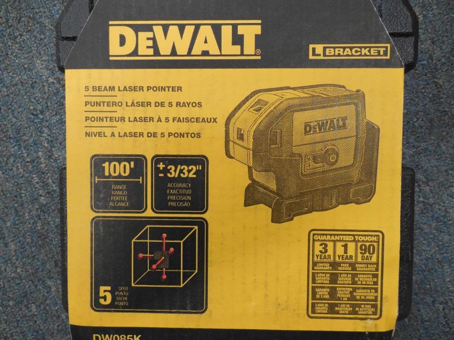 NEW DEWALT DW085K 5-Beam Laser Pointer Kit Measuring Tool Fast Shipping