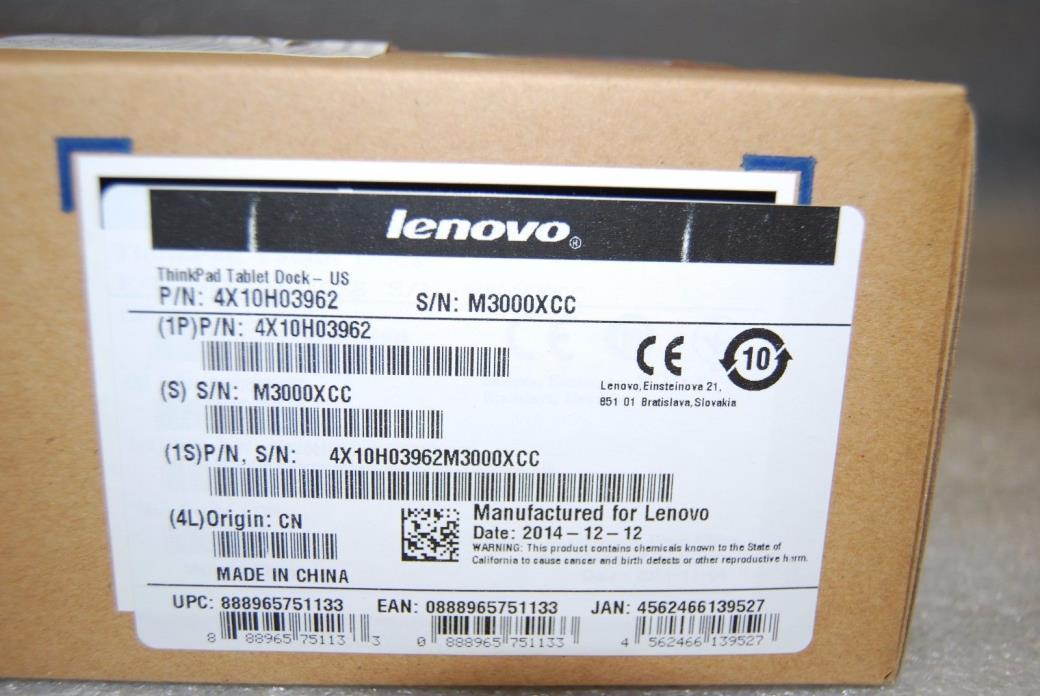 Open BOX Lenovo ThinkPad Tablet Dock - US 4X10H03962 w/ 65W AC power adapter