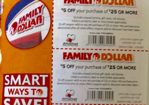 Family Dollar Coupon* 2 $5 off $25 Save $10 Exp n 275 days! Buy Now long time
