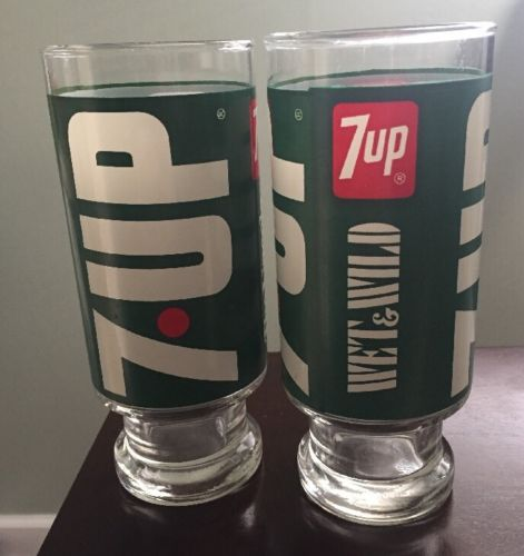 Pair Of Vintage 7 Up Tall Glasses  EXC COND!!!
