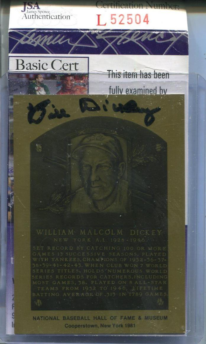 JSA Authentic Signed Bill Dickey Auto Hall Of Fame Metal Plaque Card