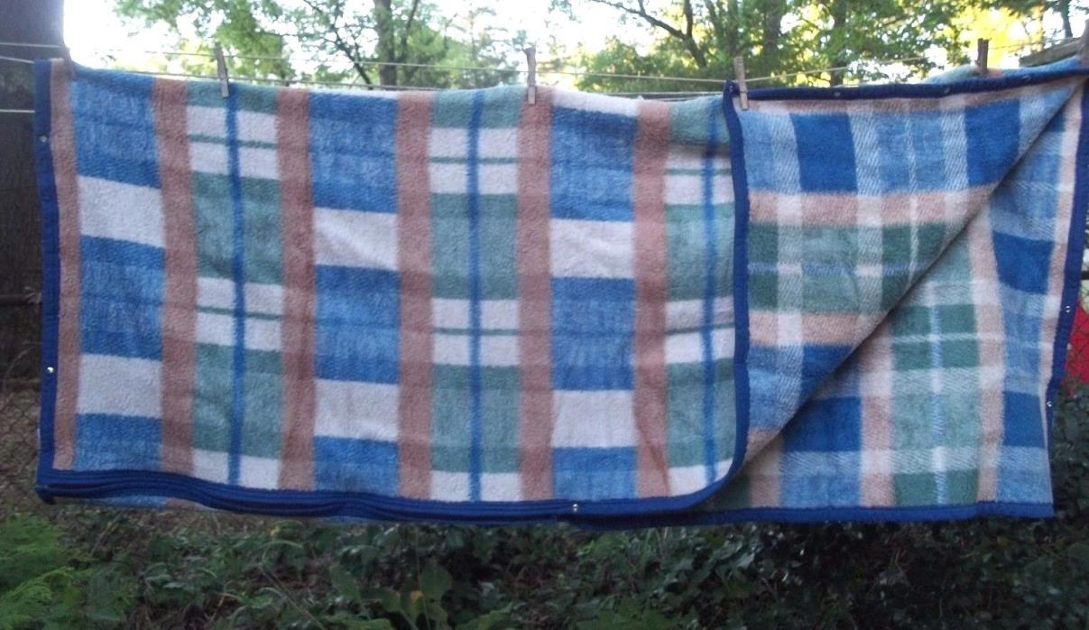 BIEDERLACK PLAID green blue REVERSIBLE afghan SLEEPING BAG stadium LAP BLANKET