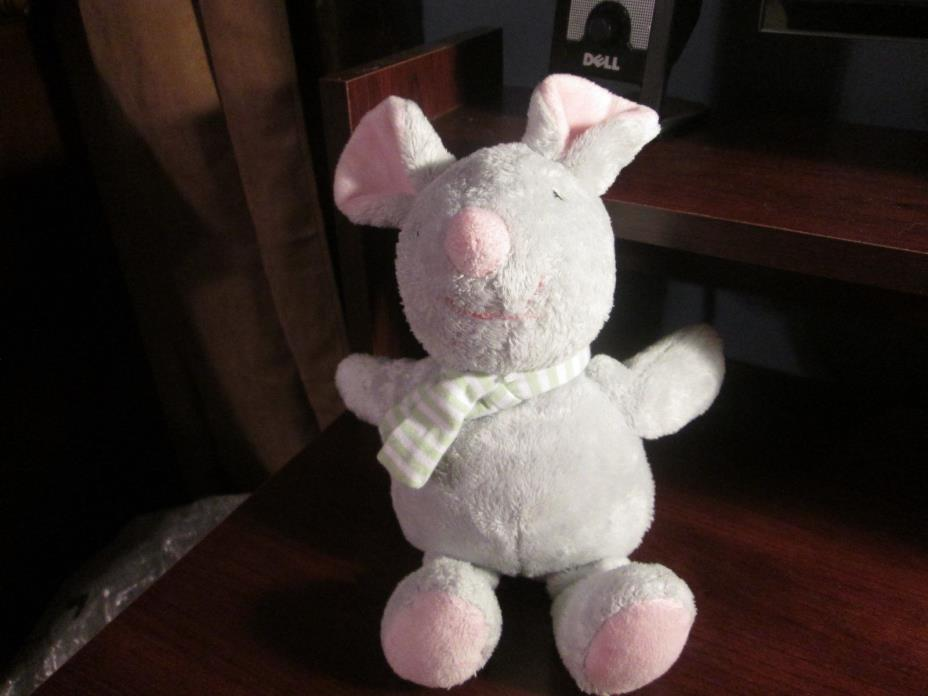 Carter's gray plush mouse with green striped scarf HTF