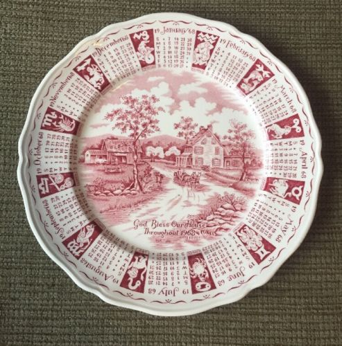 Vtg Alfred Meakin Staffordshire England 1968 Cranberry White Calendar Plate 9