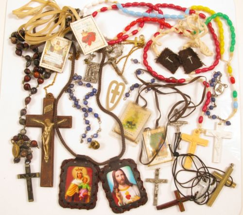 Vintage Christian Catholic Rosary,Necklace,Medals,Pedant Jewelry Craft Lot*Y505