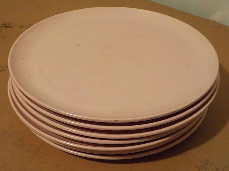 8 VINTAGE MELMAC WINDSOR MELMAC PINK DINNER PLATES USED