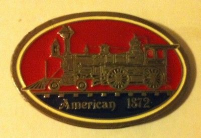 AMERICAN 1872 4-4-0 RED AND BLUE BELT BUCKLE