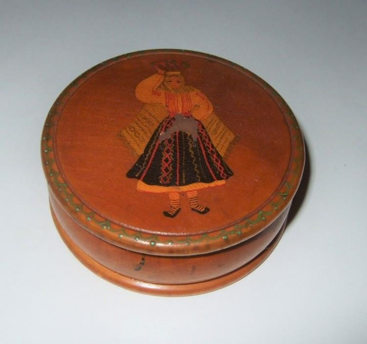 Antique Wooden Box Rare Antique Trinket Box Woman on Lid From Romania Rare Box