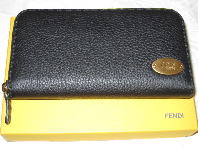 New W Tag + Box Authentic Fendi Selleria Black Leather Zip arround Wallet womens