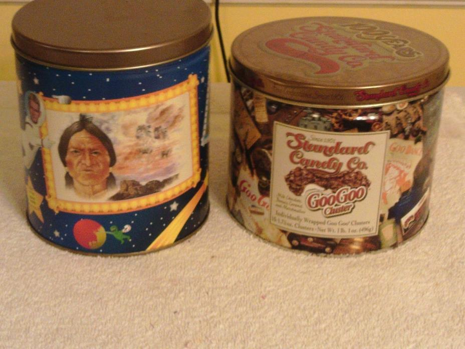 LOT OF 2 VINTAGE TIN CONTAINERS