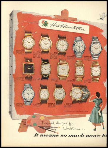 1955 His & Hers Hamilton Watches 14 His 20 Hers Styles Christmas 2 page AD