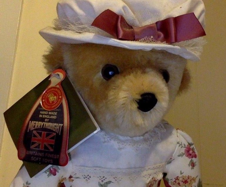 Harrods of London Plush Toy. Tan Mohair. Teddy Bear in Dress with Hat. UK. Mint