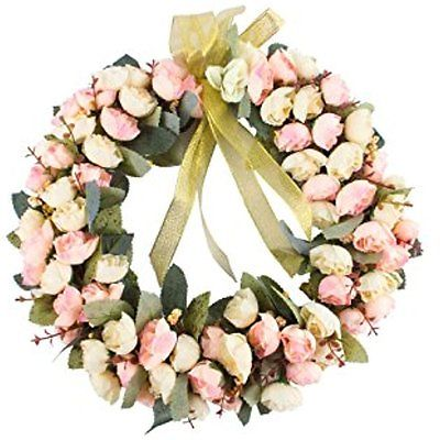 Rose Wreaths Wreath Silk Flower Head Floral Home Wall Decor