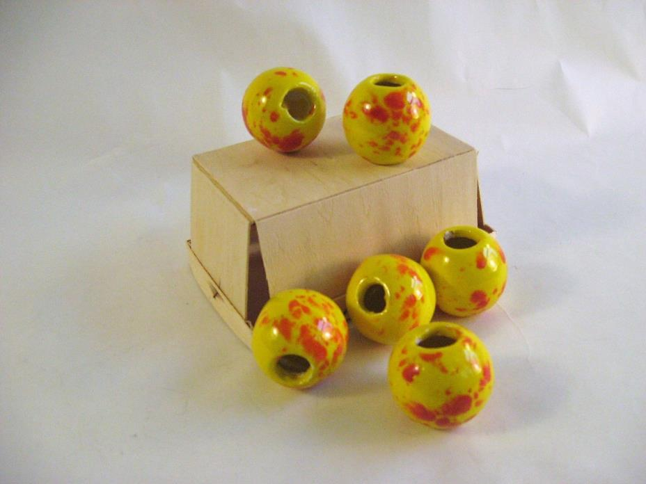 Vintage Lot of 6 XL Hand-made Ceramic Macrame beads Yellow Red highlights