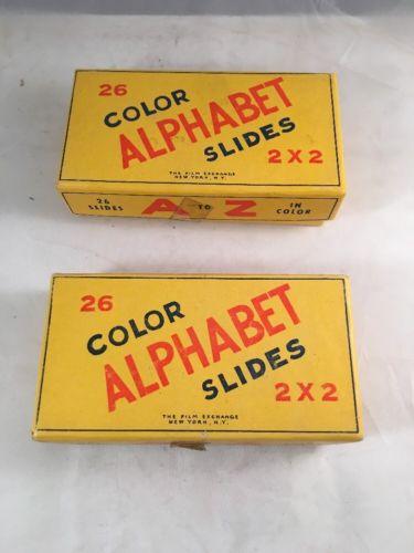 Vintage Alphabet Color Slides 2 X 2 Lot Of 2 Boxes Learning Kids Animals