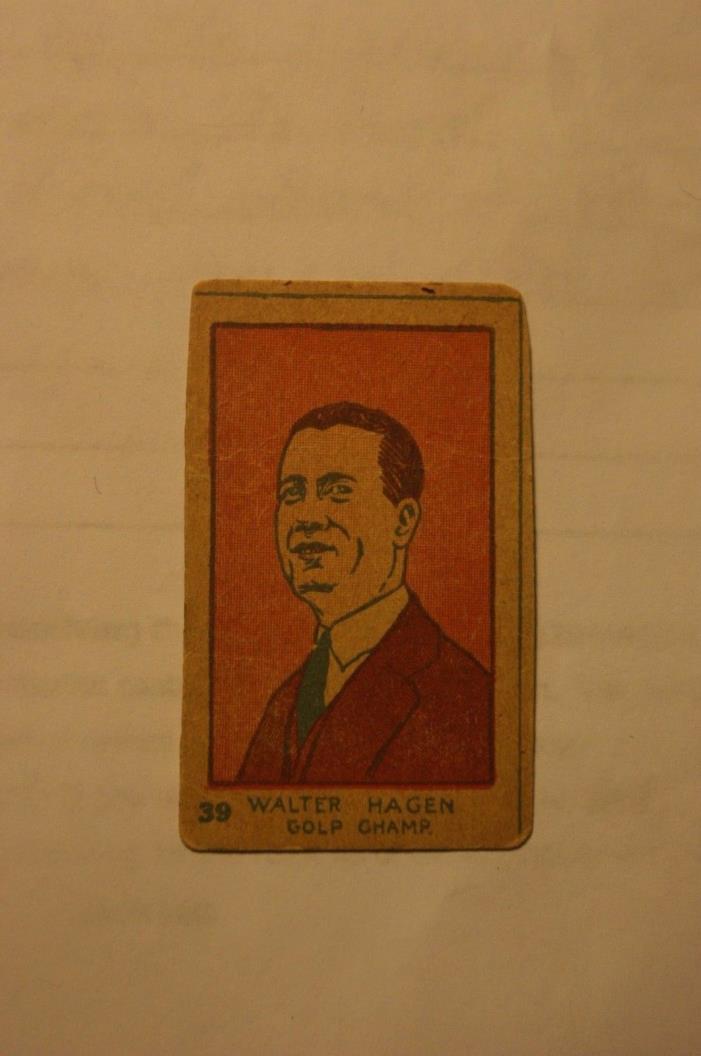 Rare Walter Hagen hand cut Golf Champ card #39