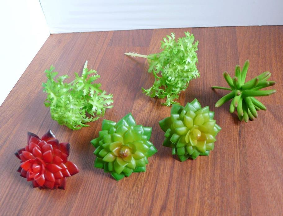 6 Artificial Succulents Mini Plants Fleshy With Grass