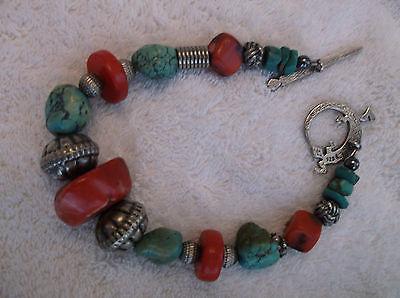 vintage red coral, turquoise bracelet marked 925