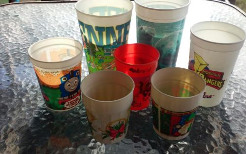 Plastic cup lot of 7 Thomas Power Rangers Tennessee Christmas Halloween soda