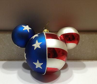 Vintage Disney Mickey Mouse Ears Patriotic Christmas Ornament