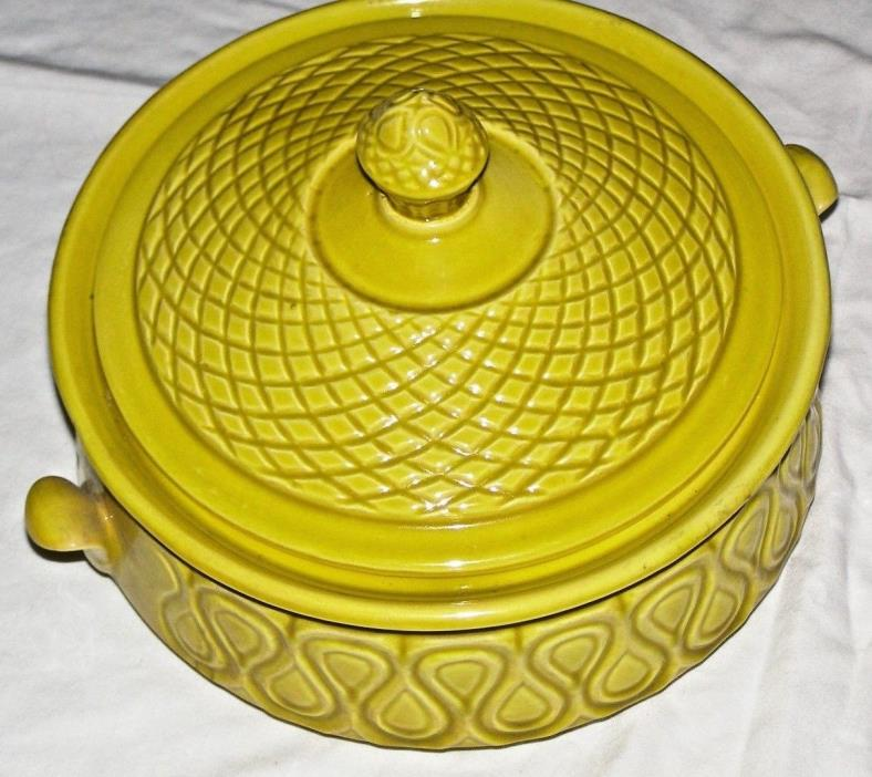 Vintage Stoneware casserole dish  yellow with lid