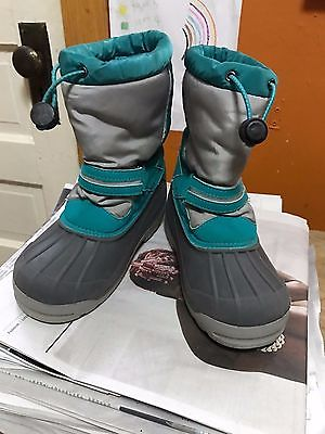 LANDS END CHILDS WINTER SNOW BOOTS SIZE 1 BIG KID GREY AND TEAL