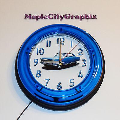 1966 Chevrolet Chevy Nova SS Blue Neon Wall Clock