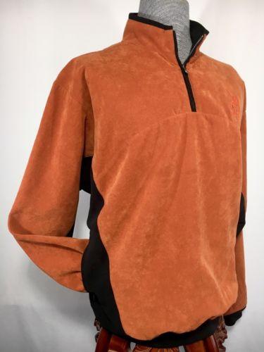 Men's Zero Restriction 1/4 Zip Pullover Terra Cotta Sweater Jacket Size XL