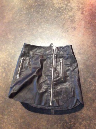 alexander mcqueen Black Leather Zipper Skirt 38 2-4