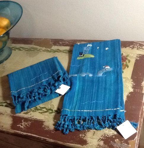 NWT Set Of 2 Anthropologie Nightscape Tea/Dish Towels Loch Ness Santa Hat