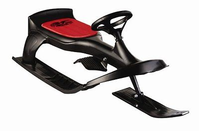 Snow Sled With Fully Functional Steering Wheel Spring-Activated Brake