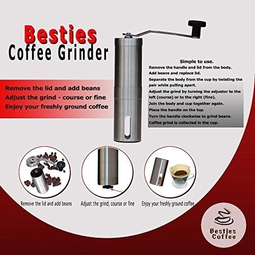 Besties Hand Coffee Grinder With Ceramic Conical Burr Design, Slim Stainless To