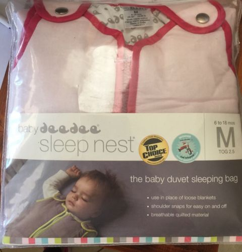 New Baby Deedee Sleep Nest Sleeping Bag Sweet Pink Medium 6-18 Months 25-35 Lbs