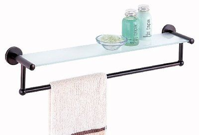 Bathroom Shower Bath Bronze Oil Rubbed Glass Mount Shelf with Towel Bar Holder