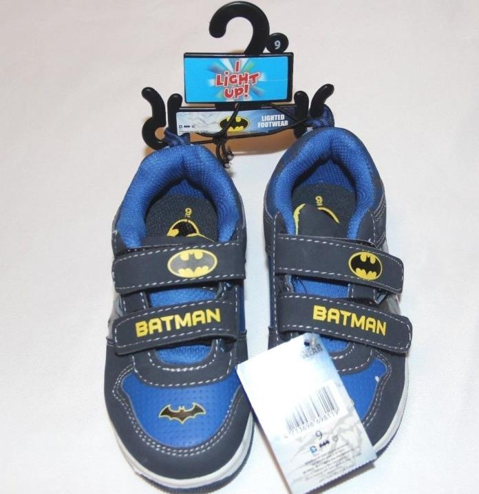 Batman DC Comics TMNT Boys Toddler Blue Light Up Velcro Slip on Shoes Size 9