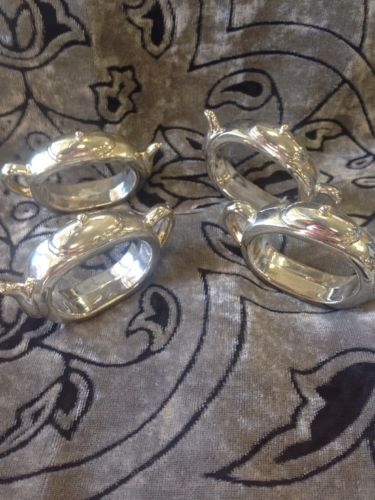 SILVER PLATED TEA POT NAPKIN RINGS - Lot of 4