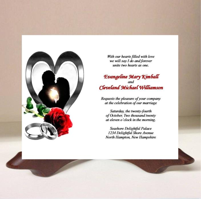 Wedding Invitations RSVP Card Bride Groom Heart Rose Silver Ring 50 Personalized