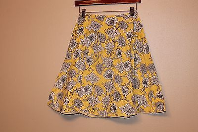 MY MICHELE yellow, black and white floral skirt, Size 3  FREE SHIPPING