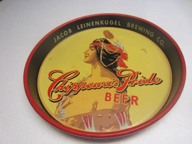 Vintage LEINENKUGEL CHIPPEWAS PRIDE INDIAN MAIDEN BEER TRAY