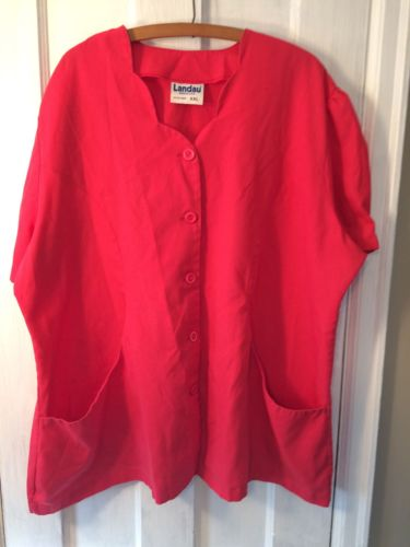 Landau Womens Pink Scrub Jacket Short Sleeve 2 Pocket Size 2X