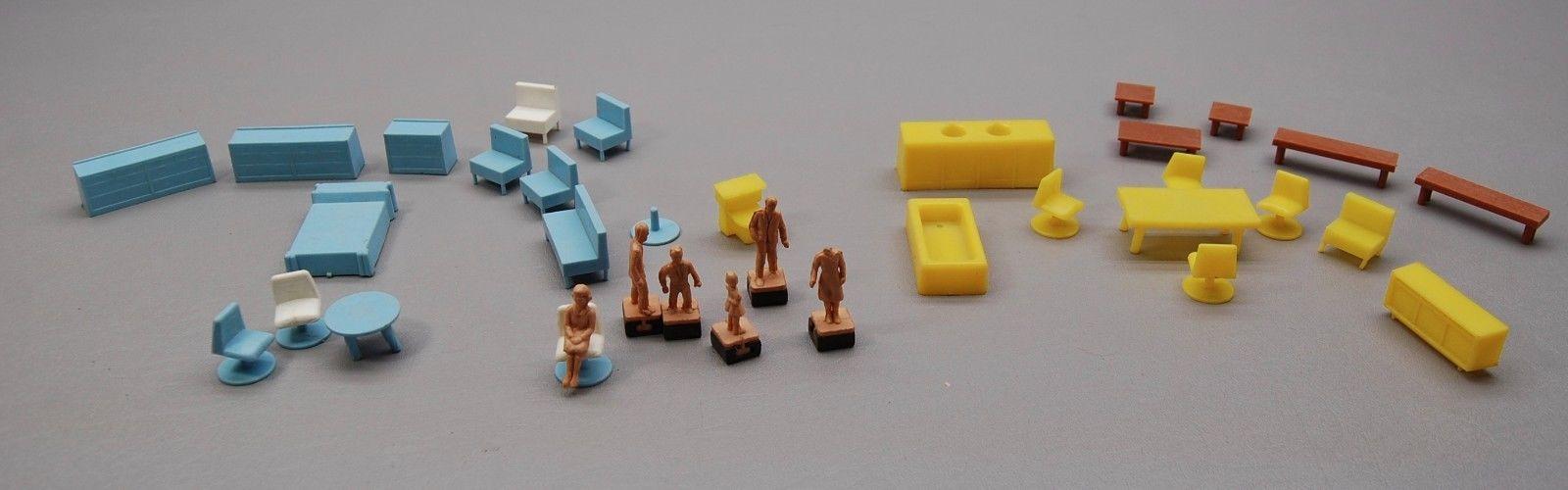 Vintage Marx? Plastic dollhouse Furniture 1960s miniature people w/ magnets LOT
