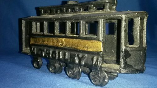 Vintage Cast Iron Street Car/Trolley No. 14 Trolley