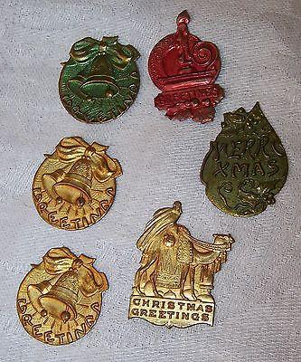 6 Vintage Metal Embossed Foil Christmas Greetings Tags Seals Camel Wiseman Bells