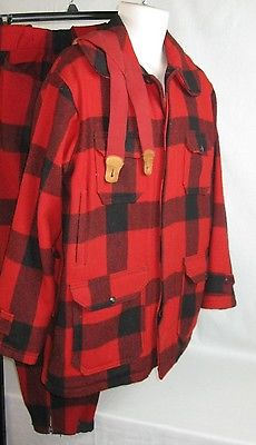 Vtg Buffalo Plaid Hunting Suit Whi Wool Jacket Coat SZ 42 Pants 32 x 29  Men's