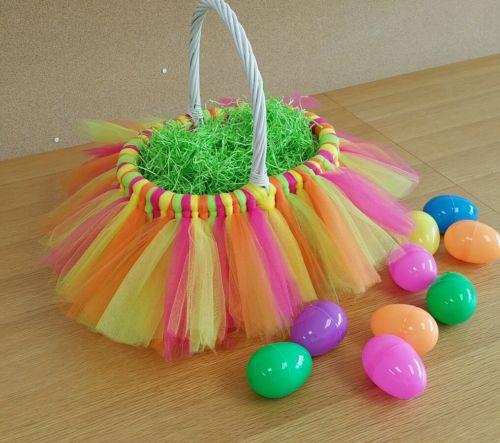 Multicolor tutu easter basket/girl's gift basket