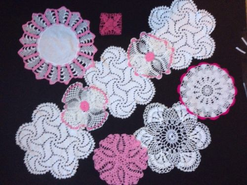Vintage Variety Crocheted Doilies White And Pink Lot Of 10