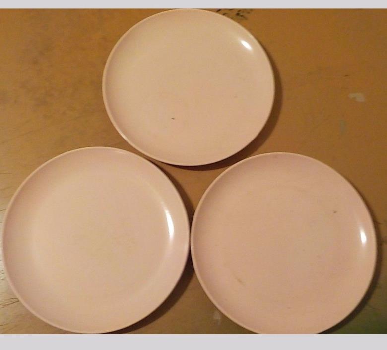 3 VINTAGE MELMAC WINDSOR MELMAC PINK DESSERT PLATES USED